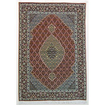 Oriental Tabriz Persian Wool and Silk Rug, Pink and Brown Rug, 3' x 5' Rug