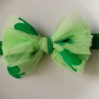 St. Patrick's Day Green Tulle Fabric Bow Headband, Girl Headband, Baby Girl Headband, Infant Girl Headband, Newborn Girl Headband