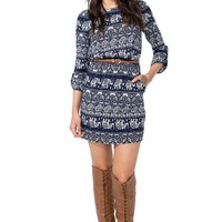 Boatneck Elephant Belted Dress