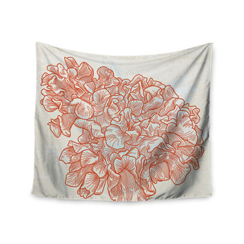 "Sam Posnick ""Lettuce Coral"" Orange Beige Wall Tapestry"