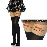 Amour - Kitten Print Knee High Length Socks CAT Tail Tattoo Tights Pantyhose Stockings (S, Hello Kitty)