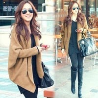 L536 Korean Women Knitting Knitwear Sweaters Outerwears Cardigan Jumpers ~Khaki~
