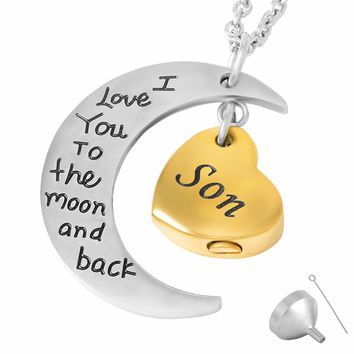 9468	I love You To the Moon And Sun Back Memorial Son Cremation Jewlry