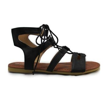 Always My Style' Lace Up Gladiator Black Sandals
