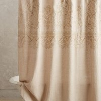 Embroidered Linen Shower Curtain by Anthropologie