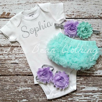 Baby Girl Take Home Outfit Newborn Baby Girl Custom Onesuit Bloomers Headband Sandals Set Mint Lavender Silver Customized Onesuit