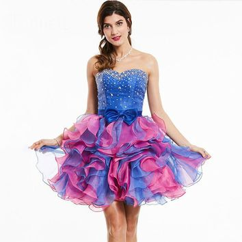 Strapless cocktail dress royal blue sleeveless beaded bowknot above knee ball gown women party short cocktail dresses