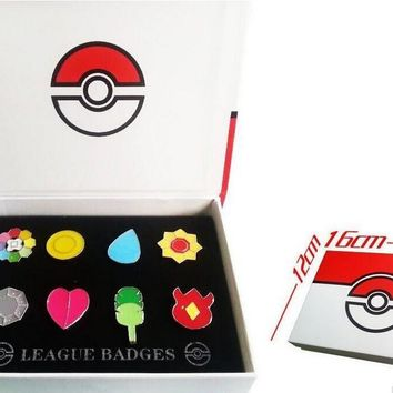 Go 1 Kanto League Badge Pin Brooch Pip Cosplay Gift Collection SetKawaii Pokemon go  AT_89_9
