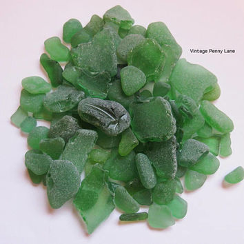 Bulk Lot of Sea Glass, Beach Glass, Frosted Green