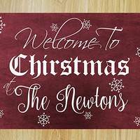CHRISTMAS FAST SHIPPING- Large Christmas Welcome Sign Personalized Vintage Wooden Decal Sign #M03