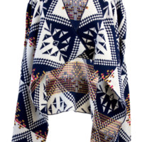 Plus Size Geo Ethnic Knit Open Cardigan