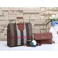 Burberry Women Fashion Leather Handbag Tote Shoulder Bag Satchel Set Two Piece