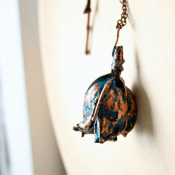 Eco-friendly pendant, bud, covered with copper, unique gift, electroformed pendant