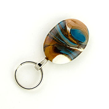 Magnetic ID Holder or Magnetic Eyeglass Holder Fall colors - brown and blue lampwork glass, lanyard, Nurses ID Holder