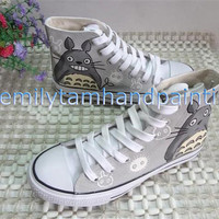 Hand Paint Converes High Top Shoes My Neighbor Totoro Inspired
