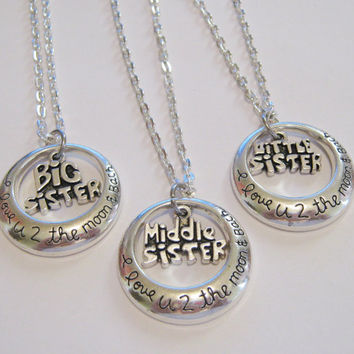 3  I Love U 2 The Moon & Back Big, Middle And Little Sisters Necklaces BFF SISTERS COUPLES