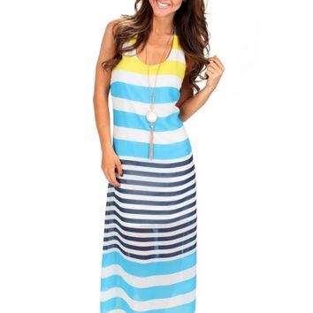 Wild Is The Wind Lemon And Blue Striped Maxi Dress | Monday Dress Boutique