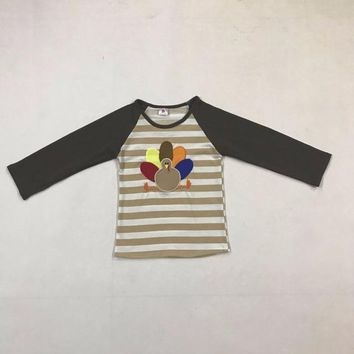 Thanksgiving Day Turkey Pattern Baby Remake Boutique Cotton Boy Embroidery Clothing Top T-shirt clothing A003