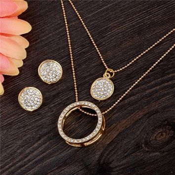 18K Gold Filled Austrian Crystal Circle Jewelry Set