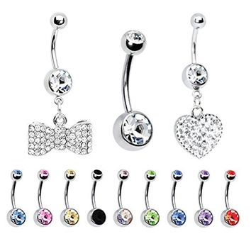 BodyJ4You 12PCS 14G Belly Button Ring Paved CZ Heart Navel Piercing Bar Lot Jewelry Set