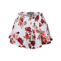LE3NO Womens Lightweight Crinkled Ruffled Flowy Summer Shorts