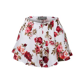 Lightweight Crinkled Ruffled Flowy Summer Shorts