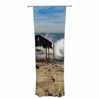 "Nick Nareshni ""Straw Hut On Beach"" Blue Tan Decorative Sheer Curtain"