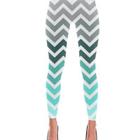 Mermaid Turquoise Fade Chevron Pattern Leggings