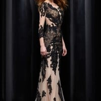 Jasz Couture Black Lace Dress 5328
