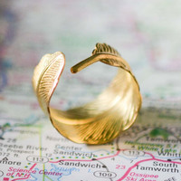 Adjustable Gold Feather Ring