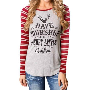 Feitong CHRISTMAS BEGUNS WITH CHRIST Autumn Women T Shirts O Neck Cotton Long Sleeve Casual Tee shirt femme camisetas y tops New