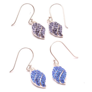 Vietguild's Earings  Shell Czech Crystal & 92.5 Sterling Silver Jewelry
