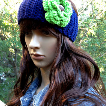 Crochet Earwarmer, Seattle Seahawk Inspired, Crochet Headband, Football Earwarmer, Football Headband, Navy, Lime