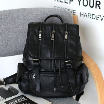 Leather Mosaic Backpack Punk Korean Zippers Travel Bags [6049534081]