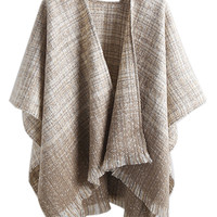 Khaki Color Block Check Print Tasseled Cape