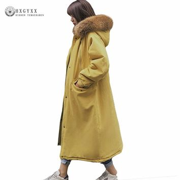 2017 Winter Jacket Women Fur Collar Quilted Coats X-Long Cotton Padded Outwear Thick Warm Corduroy Hooded Military Parka Okb406