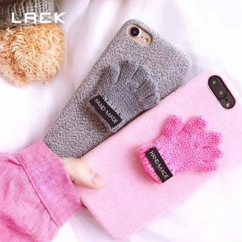LACK 3D Cute Cartoon Fuzzy Phone Cases For iphone 8 Plus Case Christmas Gloves Soft Back Cover For iphone 8 Warm Winter Coque