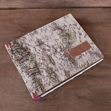 Large Handmade Rustic Guest Book / Journal with white birch bark