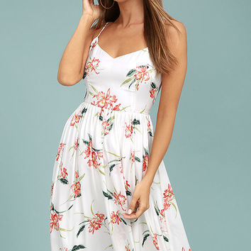 BB Dakota Lila White Floral Print Midi Dress