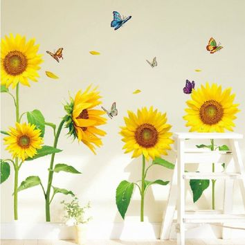 Sunflower Flower & Butterflies Vinyl Wall Sticker