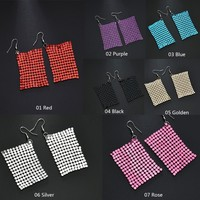 Creative Exaggerated Metal Mesh Sequins Tassel Earrings Long Dangle Earrings Pendant Female for Women Tassle Earrings #273126