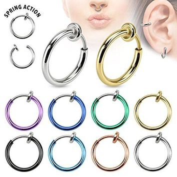 Spring Action Titanium IP Over 316L Stainless Steel Non-Piercing Septum, Ear and Nose Hoop