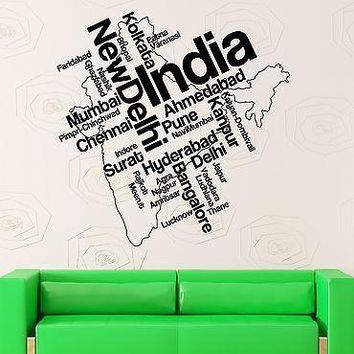 Wall Stickers Vinyl Decal India Map New Delhi Map Country Travel Unique Gift (ig1788)