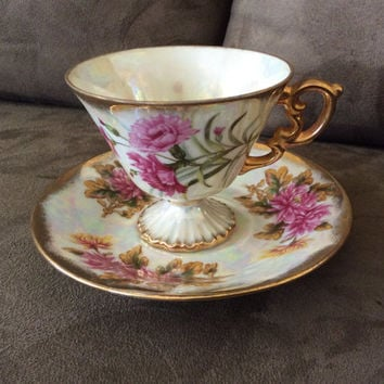 Carnation Tea Cup and Saucer, vintage, made by Norleans Japan  (January)