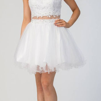 Starbox USA 6417 White Mock Two-Piece Homecoming Dress Keyhole Back