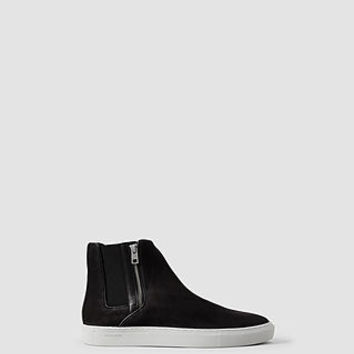 Mens Axis Shearling Hi Top (Black) | ALLSAINTS.com