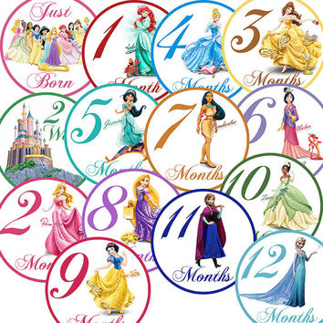 14 Princess Cinderella Elsa Jasmine Tiana Ariel Traditional Unisex Neutral Baby Girl Monthly Milestone Onesuit Stickers Newborn Shower Gift