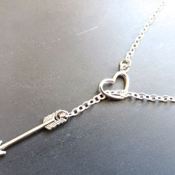 Cupid Arrow Heart Lariat Necklace- Silver Tone Charm Pendant Rainbow Simple Drop Minimalist Choker