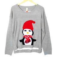 Lightweight Hi-Lo Penguin Tacky Ugly Christmas Sweater