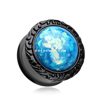 A Pair of Blackline Opalescent Adia Filigree Ear Gauge Plug